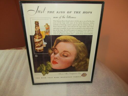 """Schlitz Beer advertisement magazine frame """"Just a kiss of the Hops"""" RARE Vintage"""