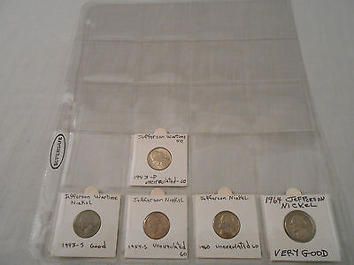 SALE! Coins:Jefferson Nickel Collection: 5 Coins: 3Uncirculated:1943D/1954S/1960