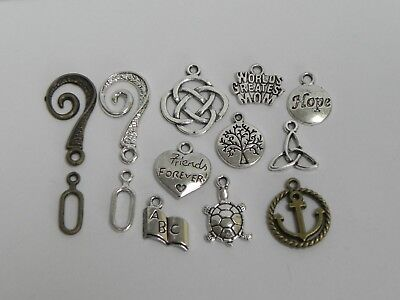 13Pcs  Mixed Metal Charms Pendant    2 Toggle Clasps Findings