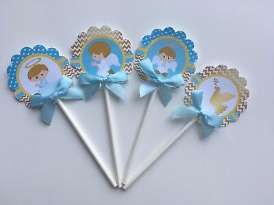 Baptism cupcake toppers, Baptism theme, Gold and Blue  1 dozen  (Baptism Cupcake Toppers)