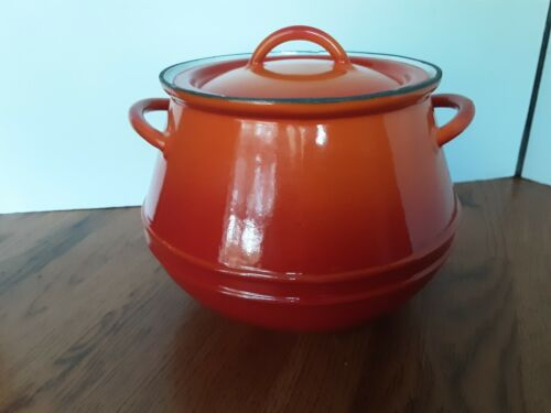 Vintage Descoware Red Orange Flame Rare Bean Pot Enamel Casserole Belgium