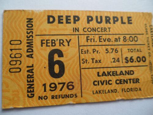 DEEP PURPLE Original__1976__CONCERT TICKET STUB__TOMMY BOLIN__Lakeland, FL