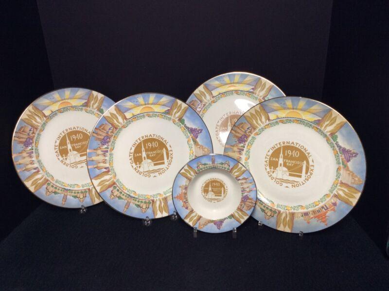 "(4) Homer Laughlin 1940 Golden Gate Exposition Worlds Fair 10"" Plates & Ashtray"