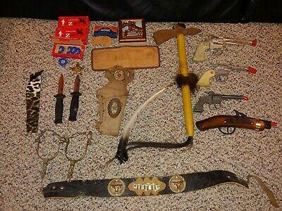 Vintage Cowboy Western Toys,Cap Guns,Pistols,Leather Belt,Holster,Caps,Spurs