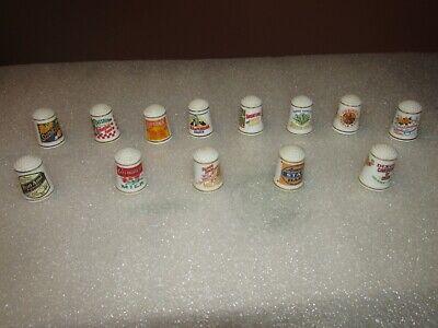 Vintage THIMBLES lot of (13) advertising porcelain 80's
