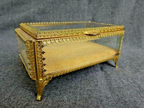 Vintage Beveled Glass Ormolu Brass Filigree Footed Casket Jewelry Box Rectangle