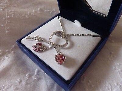 Swarovski Pink Heart Lock (Swarovski Pink Heart Lock Necklace Pendant NIB )