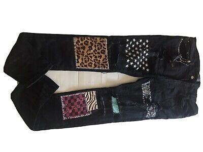 Amiri Black Art Patch Jeans Size 38 Slim Stretch Skinny Stud Fabric New