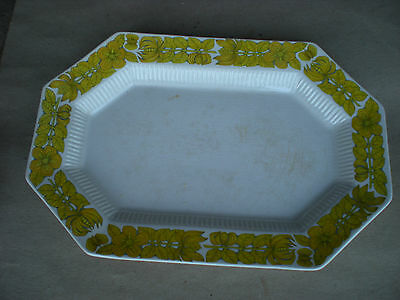 "Independence Ironstone YELLOW BOUQUET Octagon 13"" Platter JAPAN"