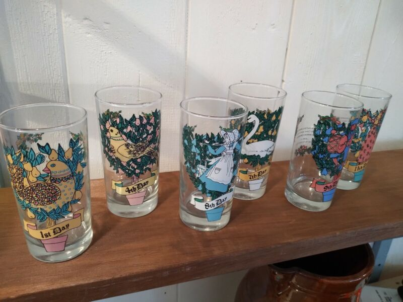 12 Days Of Christmas Glasses American Glass Indiana Replacement Set of 6