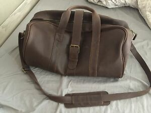 Custom-made brown leather overnight bag for sale