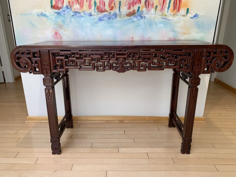 Estate Antique Chinese Hand Carved Rosewood Altar/ Table Entry Console Year 1950