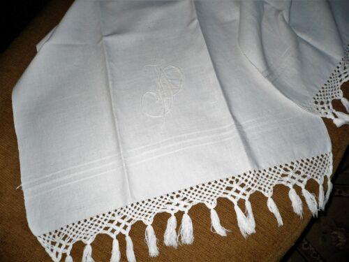 "Antique French White Linen Monogram ""JP"" Bath / Hand Towel Runner Trousseau"