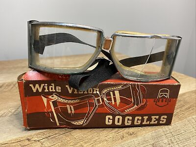 Vintage Cesco Wide Vision Goggles Motorcycle Harley Indian Steampunk. Damaged