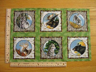 Nature Wolf Moose Bear Deer James Meger  Cotton Quilt Fabric Panel Blocks (6)
