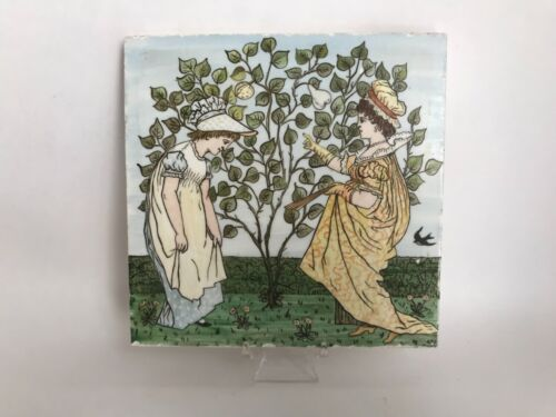 Antique English Victorian E.B.S Hand Painted Ceramic Tile #2