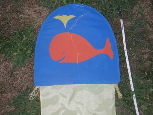 Vintage SPERM WHALE Rainbow Rider Kites USA 16 ft. Long Tail Kite w/flaws