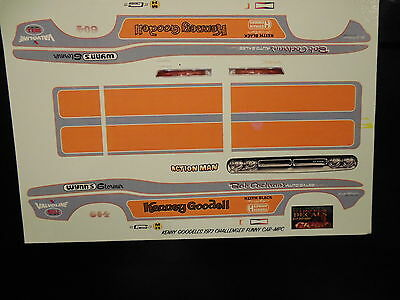 1/25 SCALE KENNY GOODELL 1972 CHALLENGER FUNNY CAR DECAL/REVELL/MPC