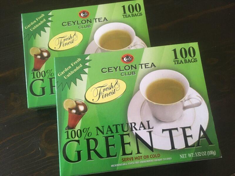 (2 BOXES) Ceylon Tea Club Pure Green Tea  Bags 100 Staple-Free Bags per Box