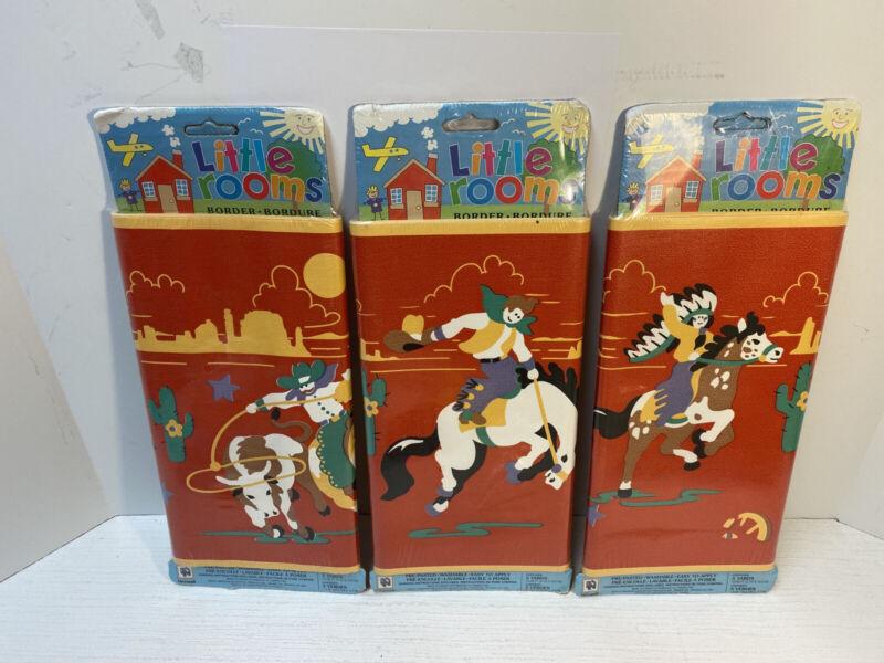 NORWALL LITTLE ROOMS WALLPAPER BORDER 5 yd WESTERN HORSES COWBOY Native American