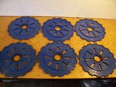 6 Plastic Lustran Ih Planter Plates C8-16 Blue Lot J