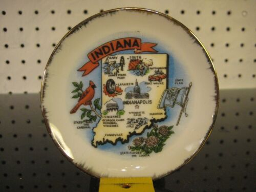 Indiana State Map Souvenir Small Collector Plate - Japan