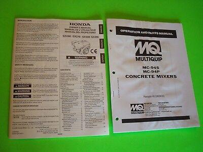 Mq Multiquip Mc-94smc-94p Concrete Mixers Op Parts Manual Honda Owners Man.
