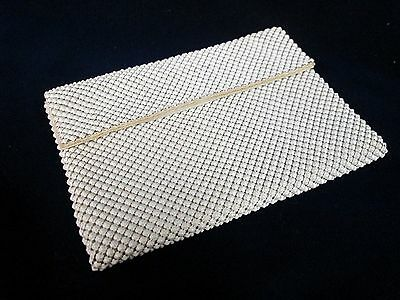 Vintage WHITING & DAVIS White BUBBLE MESH Small Evening Bag Hard to Find