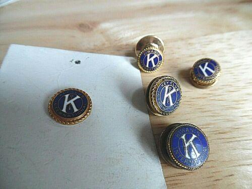 5 Vintage Kiwanis & Key Club Enameled Member Pins (2) Screw Backs (1) Leavens
