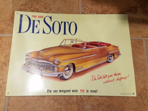 """Desoto tin sign """"Desoto lets you drive without Shifting"""" still wrapped"""