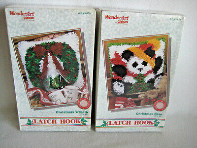 Lot of 2 Christmas Latch Hook Rug Kits Christmas Bear & Wreath Sealed ()