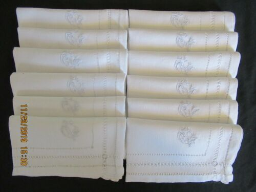 "11 Antique Vintage  French Luncheon Napkins Monogram AG  Approx. 16"" Square"