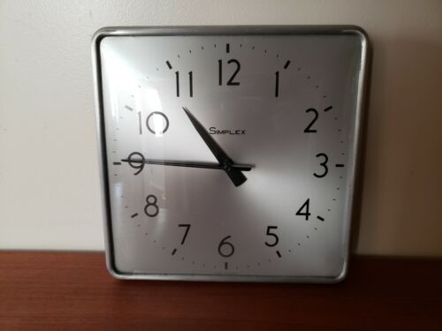 """Simplex Wall Clock Metal Concave Glass - Vintage Industrial Style - Working 12"""""""