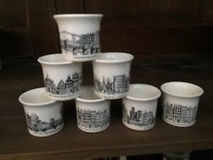 Villeroy & Boch egg cups. Collectable Dutch cityscapes.