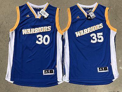 Stephen Curry Kevin Durant Warriors Swingman Adidas Blue Mens Kids Jersey