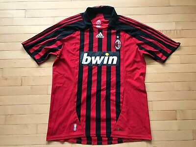 AC Milan Adidas Climacool Bwin Red Black Stripe S/S Soccer Jersey SZ XL