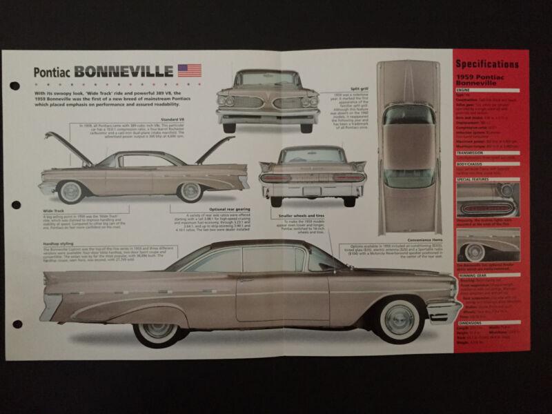 1959 Pontiac BONNEVILLE IMP Hot Cars Spec Sheet Folder Brochure RARE