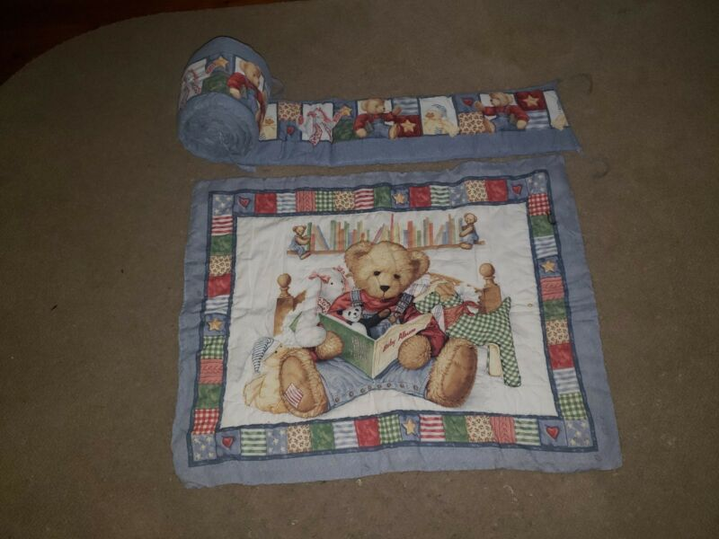 Teddy Bear Nursery Crib Bedding Set Bumper Quilt Blanket Blue Jean