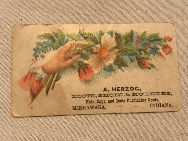 A. HERZOG Boots Shoes & Rubbers Vintage Trade Card, Mishawaka, Indiana