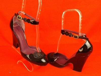 NEW MARC JACOBS BLACK PATENT GLITTER LEATHER ANKLE STRAP WEDGE HEEL PUMPS 38.5 ()