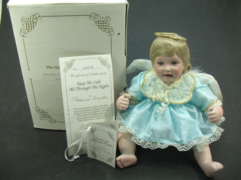 """Hamilton Collection Porcelain Doll GUARDIAN ANGEL """"Keep Me Safe""""  Boxed 0308-B"""