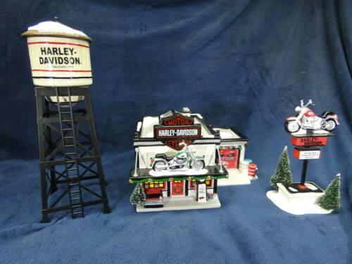 Department 56 Harley Davidson Shop + Sign + Water Tower
