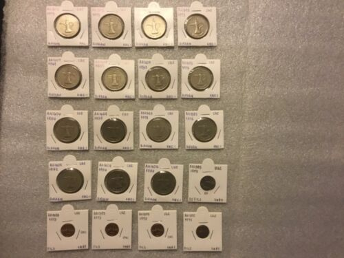 Lot of 20:United Arab Emirates(UAE)1 DIRHAM,1,25 FILS coins,AH1393 -1409/1973-89