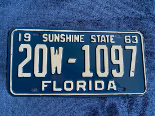 1963 Florida License Plate 20 W 1097