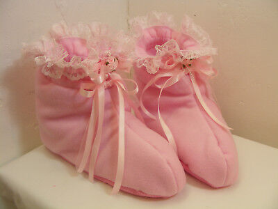 ADULT BABY SISSY BOOTIES PADDED PINK fleece OPT LOCK CHAIN BELLS COLOUR COSPLAY
