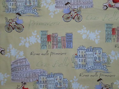 VESPA SCOOTERS RETRO BICYCLES ROME ITALY SITES YELLOW COTTON FABRIC FQ for sale  Shipping to India
