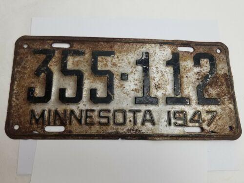 Vintage 1947 Minnesota License Plate