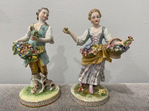 Vintage Antique Carl Thieme Dresden Porcelain Pair Figurines Man Woman w Flowers