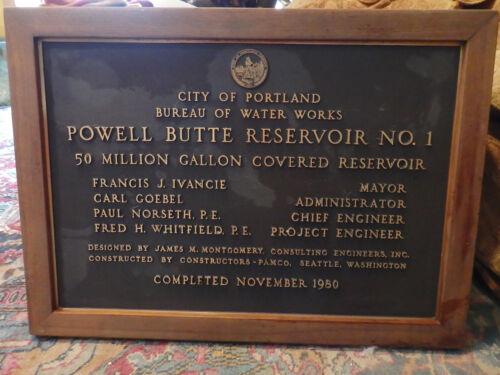 Vintage Bronze Dedication Plaque sign Portland Oregon Powell Butte Reservoir Ore