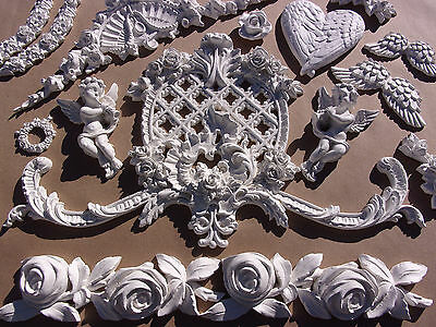 SHABBY & CHIC FURNITURE APPLIQUES *Tremendous *  ROSE MOULDING! NEW FOR 2017